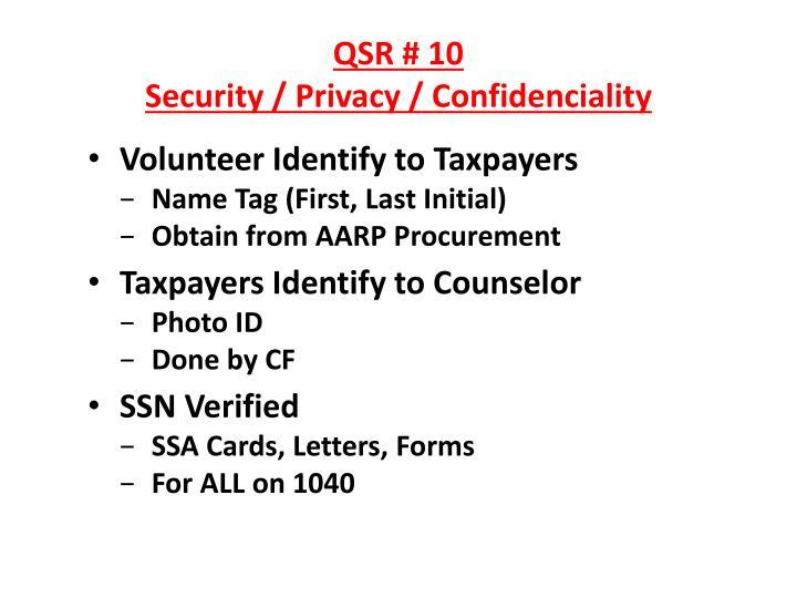 QSR # 10
