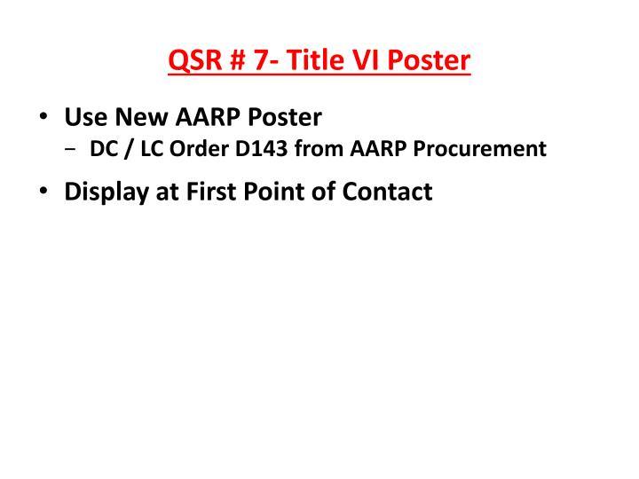 QSR # 7- Title VI Poster