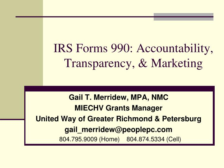 Irs forms 990 accountability transparency marketing