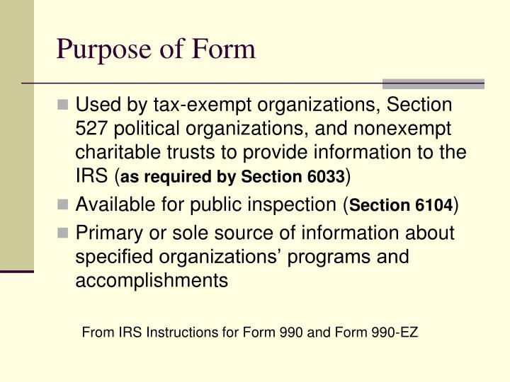 Purpose of Form