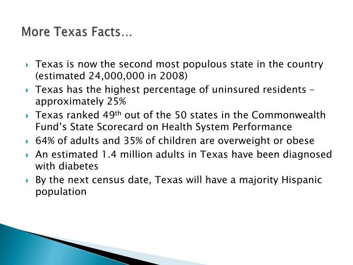 More Texas Facts…