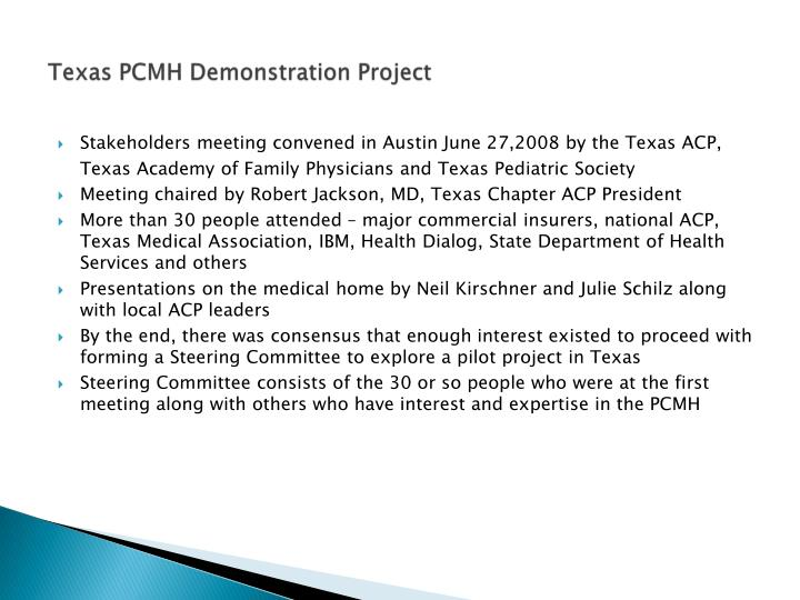 Texas PCMH Demonstration Project