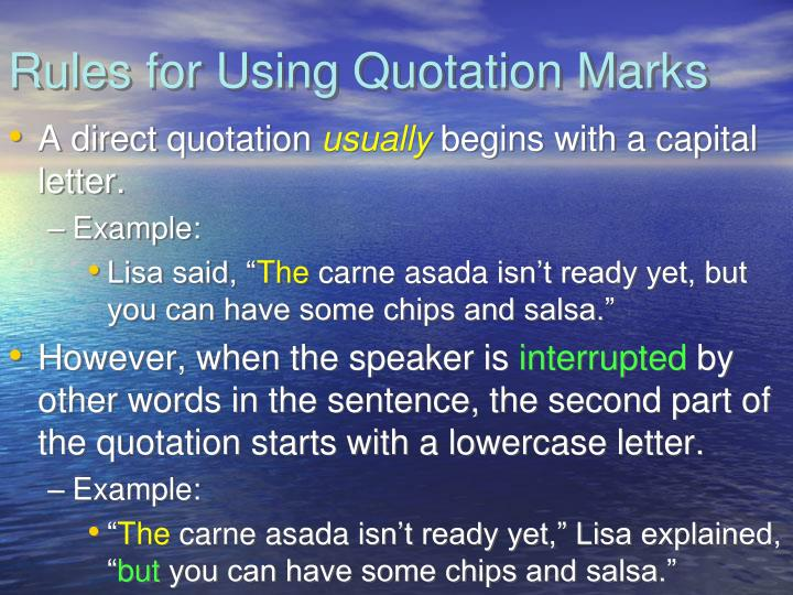 Rules for using quotation marks1