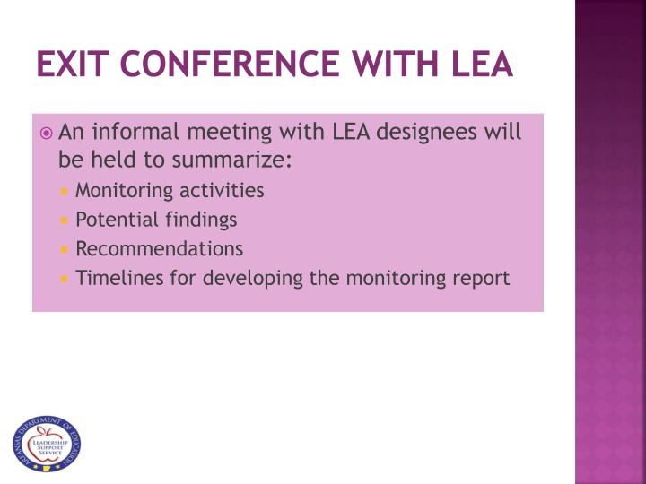 Exit Conference with LEA