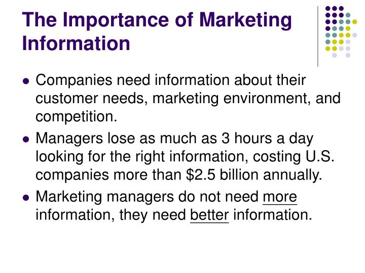 The importance of marketing information
