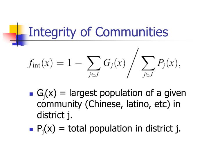 Integrity of Communities