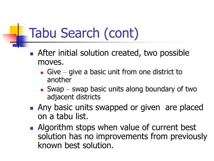 Tabu Search (cont)