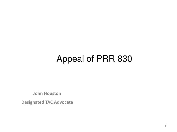 Appeal of prr 830
