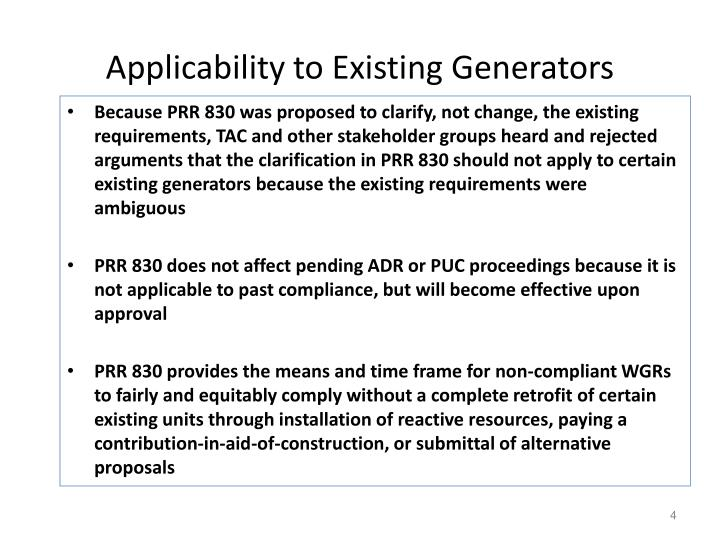Applicability to Existing Generators