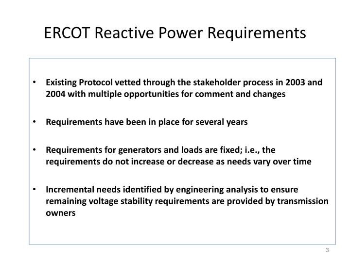 Ercot reactive power requirements