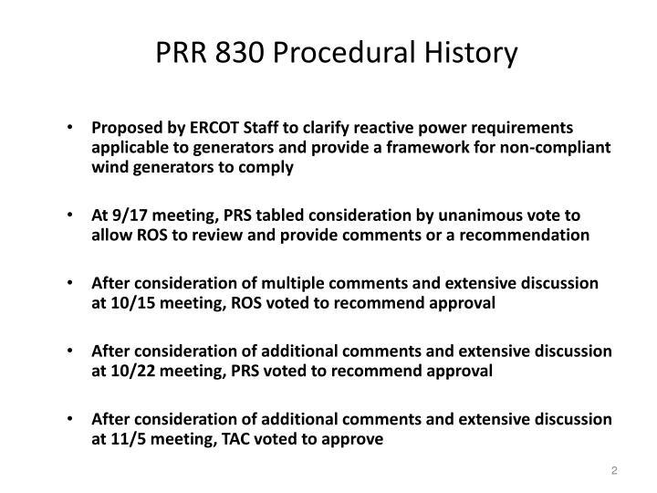 PRR 830 Procedural History