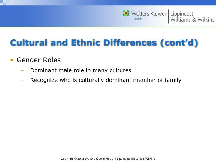 Cultural and Ethnic Differences (cont