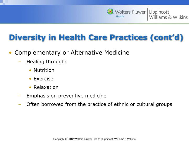 Diversity in Health Care Practices (cont