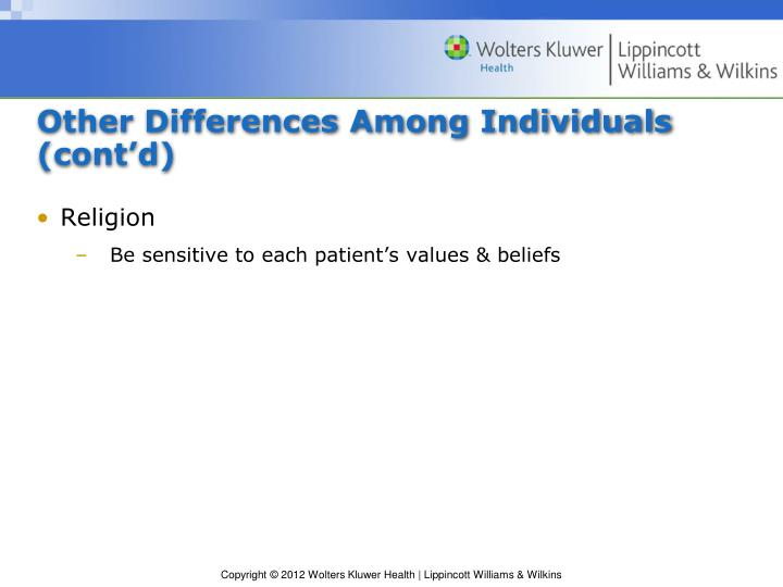 Other Differences Among Individuals (cont