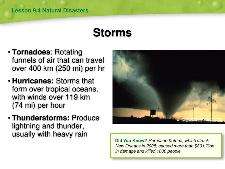 Lesson 9.4 Natural Disasters