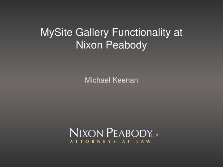 MySite Gallery Functionality at