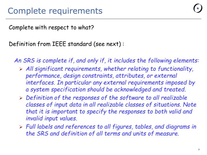 Complete requirements