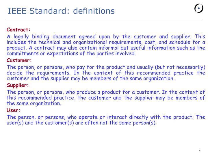 IEEE Standard: definitions