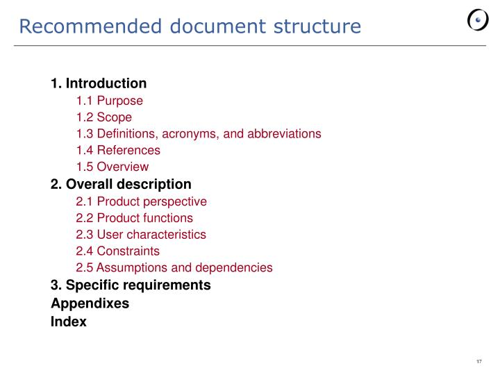Recommended document structure
