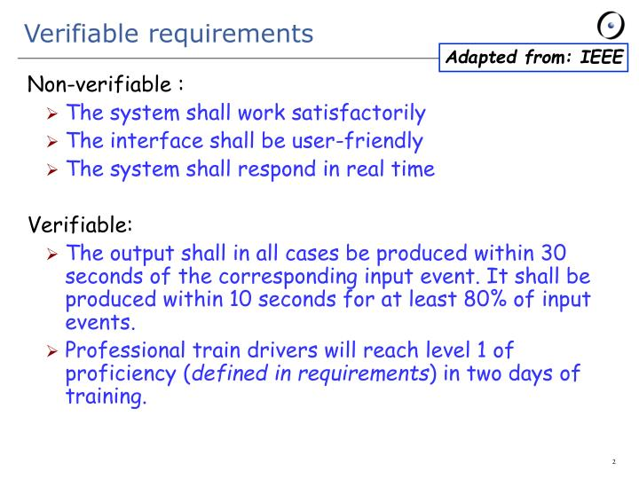 Verifiable requirements