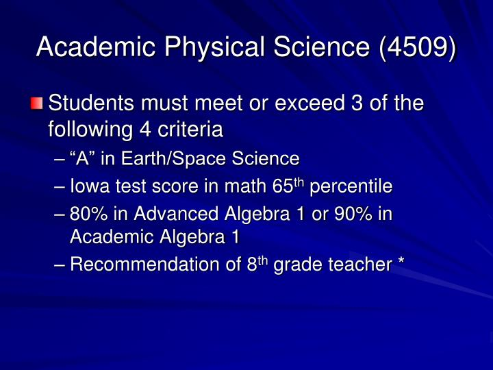 Academic Physical Science (4509)
