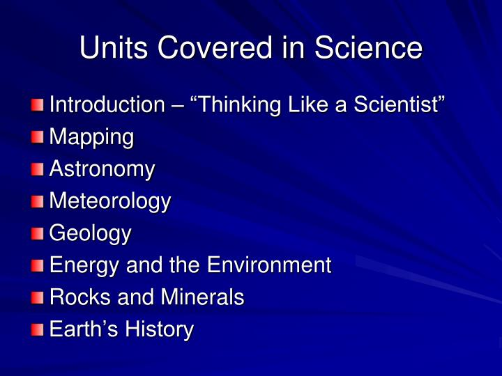 Units Covered in Science