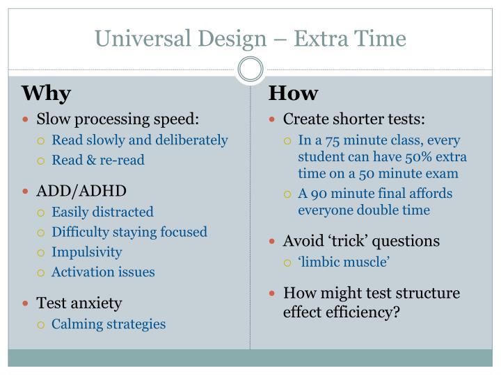 Universal Design – Extra Time