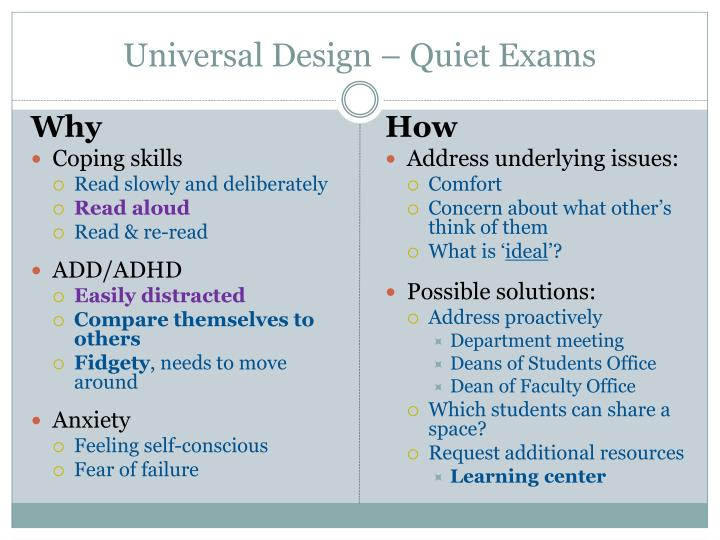 Universal Design – Quiet Exams
