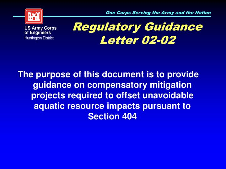 Regulatory Guidance Letter 02-02