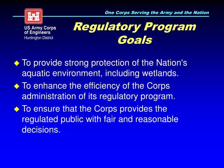 Regulatory Program Goals