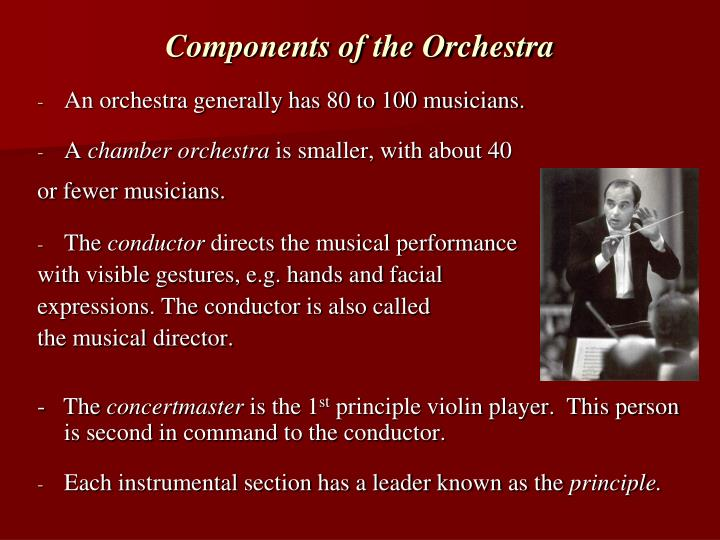 Components of the orchestra