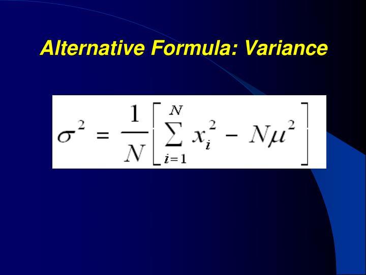 Alternative Formula: Variance