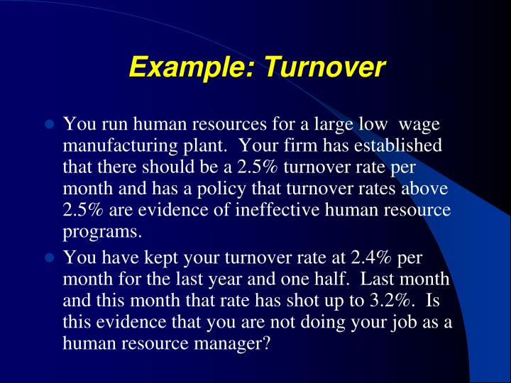 Example: Turnover