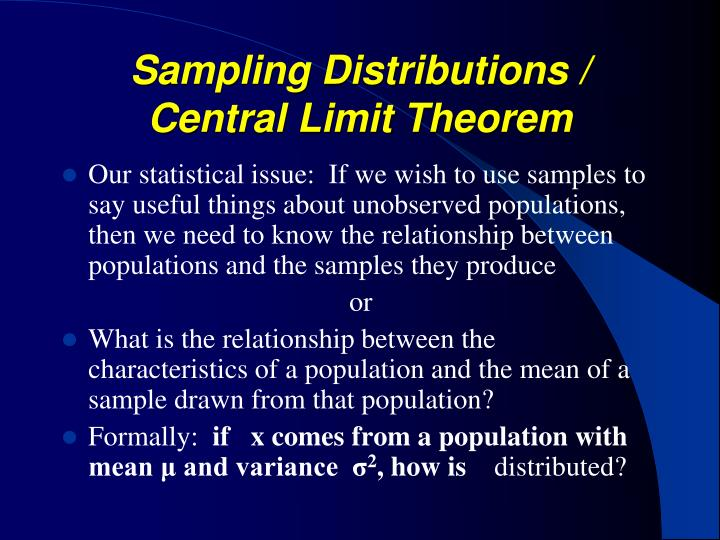 Sampling Distributions / Central Limit Theorem