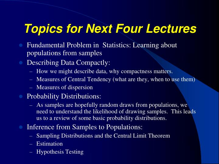 Topics for Next Four Lectures