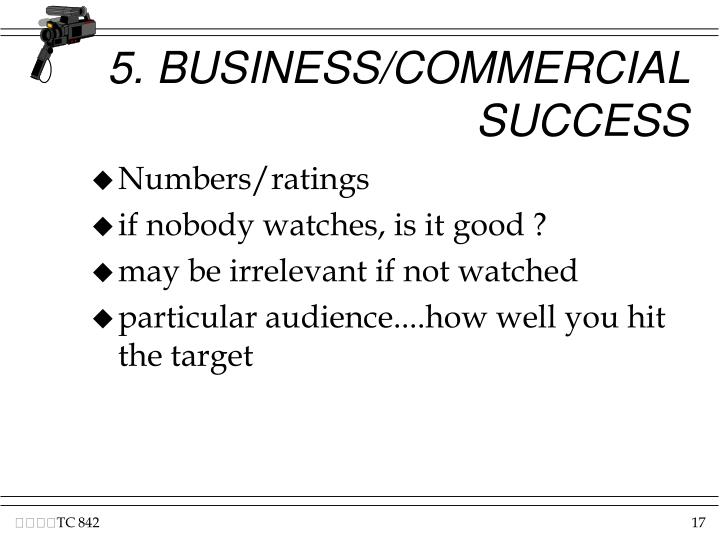 5. BUSINESS/COMMERCIAL SUCCESS