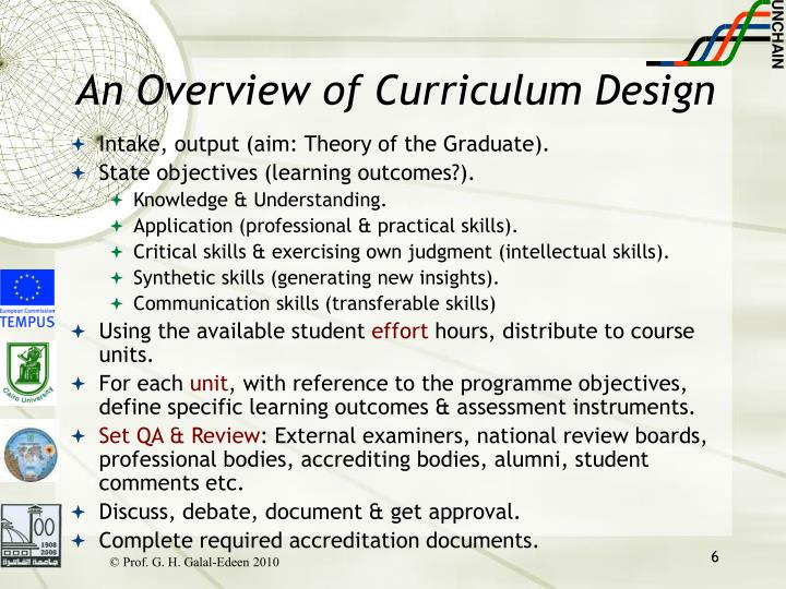 An Overview of Curriculum Design