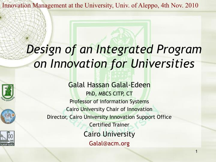 Innovation Management at the University, Univ. of Aleppo, 4th Nov. 2010