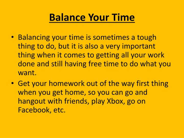 Balance Your Time