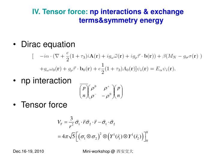 IV. Tensor force: