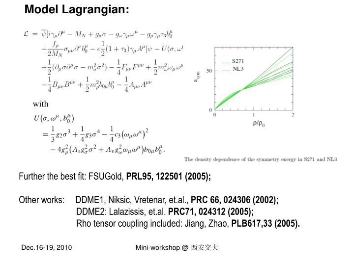 Model Lagrangian: