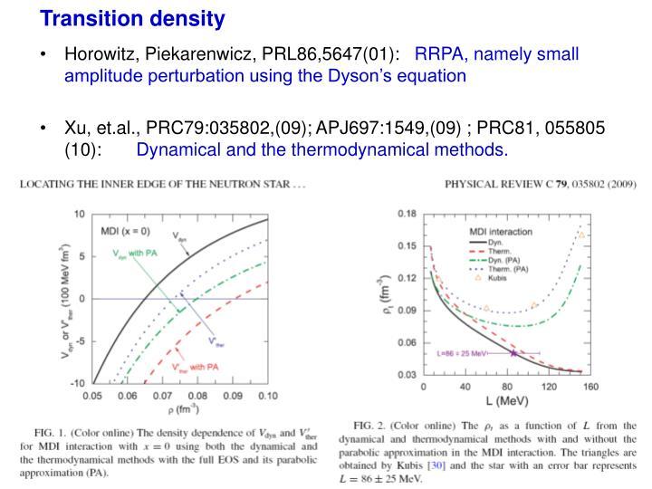 Transition density