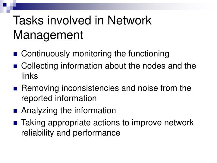 Tasks involved in Network Management