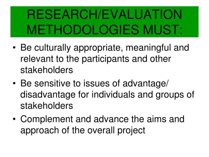 RESEARCH/EVALUATION METHODOLOGIES MUST: