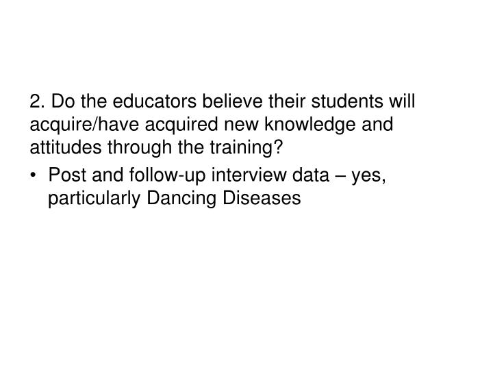 2. Do the educators believe their students will acquire/have acquired new knowledge and attitudes through the training?