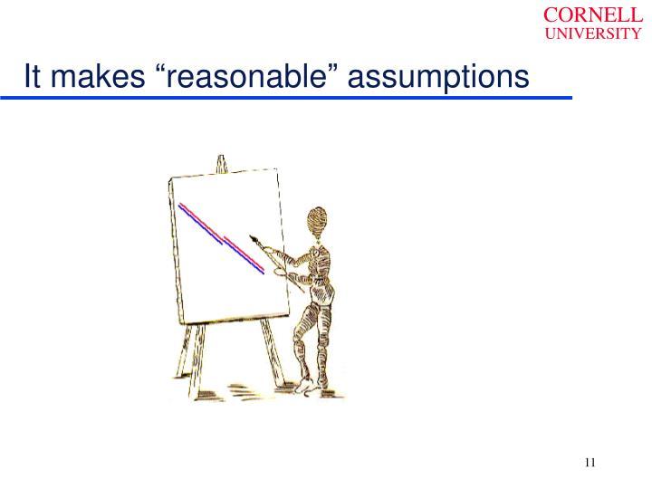 "It makes ""reasonable"" assumptions"