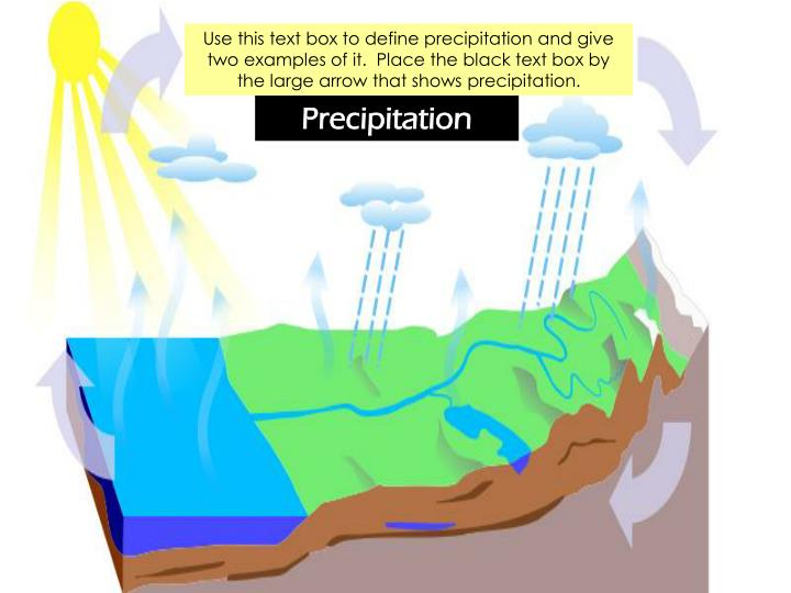 Use this text box to define precipitation and give two examples of it.  Place the black text box by the large arrow that shows precipitation.