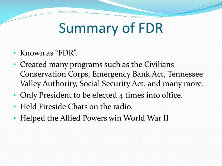 Summary of FDR