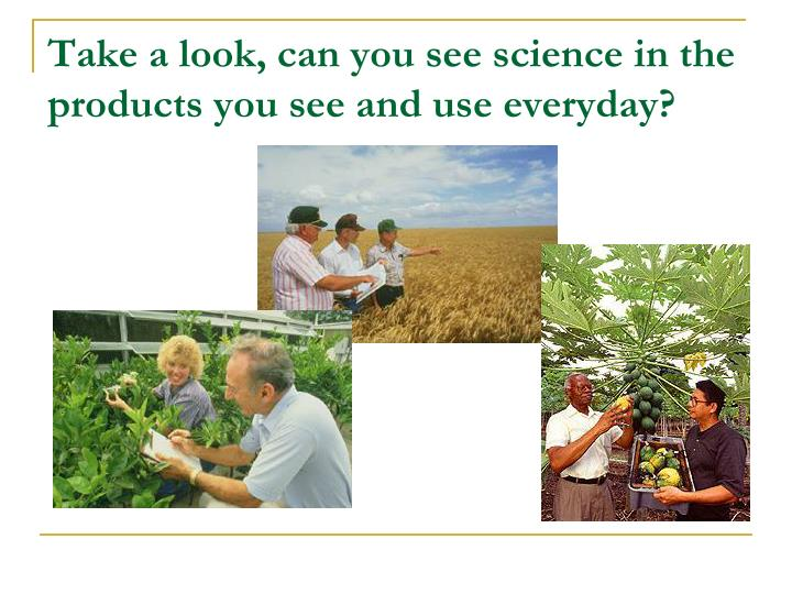 Take a look can you see science in the products you see and use everyday