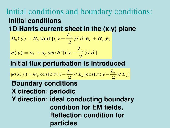 Initial conditions and boundary conditions: